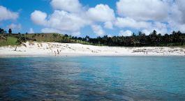Blick auf den Strand im Hotel Explora Rapanui, Osterinsel in Chile