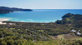 Meeresku00fcste mit gru00fcner Natur im Tasman Nationalpark in Neuseeland