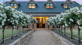 Auu00dfenansicht mit Bu00e4umen gesu00e4umtem Weg zum Abbotsford Country House in Barossa Valley, Australien