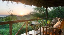 Ausblick von der Terrasse im Hotel Burunge Tented Camp, Tarangire in Tansania