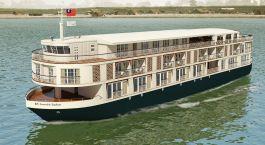 Auu00dfenansicht auf das Paukan Kreuzfahrtschiff auf dem Irrawaddy in Myanmar