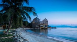 Blick auf den Strand im An Lam Retreat Ninh Van Bay Hotel in Nha Trang, Vietnam