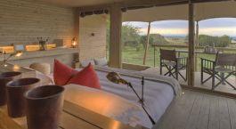 Doppelzimmer mit Ausblick im Kichwa Tembo in Masai Mara, Kenia