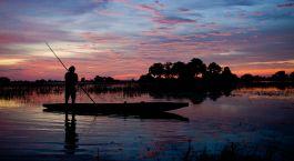 Sonnenuntergang, Tubu Tree Camp in Okavango Delta, Botswana