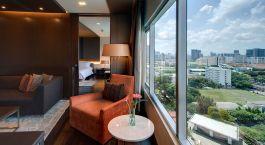 Zimmeraussicht im Hotel Pathumwan Princess Hotel in Bangkok, Thailand