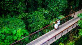 Paar steht auf Bru00fccke u00fcber gru00fcnem Wald im Nayara Resort, Spa & Gardens in Arenal, Costa Rica