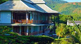 Auu00dfenansicht vom Hotel Lu2019Archipel Deluxe Hotel in Seychellen