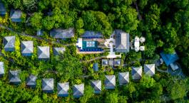 Bird's eye view of Nayara Springs Hotel in Arenal, Costa Rica