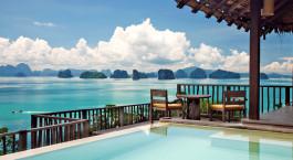 Ausblick von dem Resort aufs Meer im Six Senses Yao Noi in Koh Yao Noi, Thailand