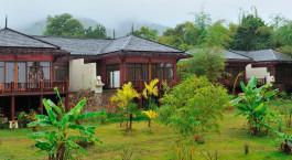 Auu00dfenansicht im Hotel Aureum Palace Inle in Inle Lake, Myanmar