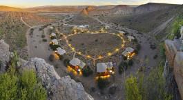 Luftaufnahme von Sanbona Dwyka Tented Lodge in Little Karoo, Su00fcdafrika