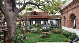 Auu00dfenansicht in Svatma Boutique Hotel, Thanjavur in Su00fcdindien