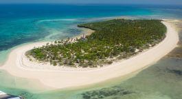 Vogelperspektive einer Insel in Tansania