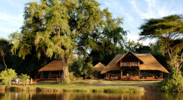 Auu00dfenansicht von Chiawa Camp in Lower Zambezi, Sambia