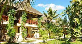 eine Gruppe von Palmen mit einem Gebäude im Hintergrund