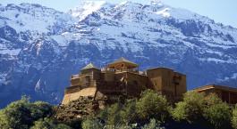 Auu00dfenansicht des Kasbah du Toubkal Hotels in Hoher Atlas, Marokko