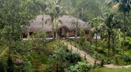Aerial view of Hotel Shalimar Spice Garden, Thekkady, Kerala, South India, Asia
