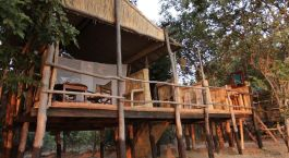 Auu00dfenansicht im Hotel Kafunta Island Bush Camp, South Luangwa in Sambia