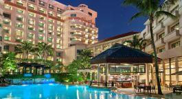 Auu00dfenansicht des Swissotel Merchant Court Hotel in Singapur
