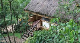 Eingang von Buhoma Lodge in Bwindi, Uganda