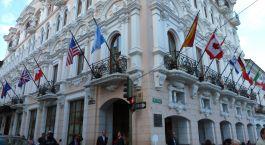 Auu00dfenansicht vom Hotel Plaza Grande, Quito in Ecuador/Galapagos