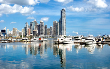 Panama City with luxury boats