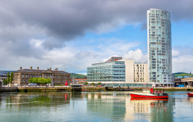 View of River Lagan, Belfast City, Northern Ireland, United Kingdom
