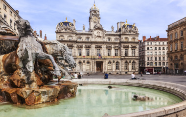 Terreaux square with fountain in Lyon city, France, Europe