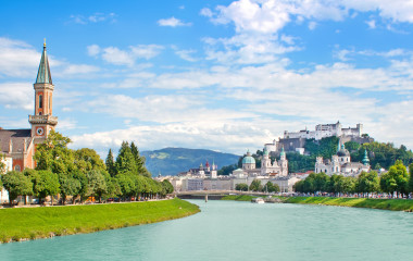 Panoramic view of Salzburg skyline with Festung Hohensalzburg and river Salzach, Salzburger Land, Austria