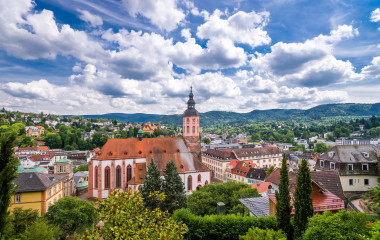 Panoramic view of Baden-Baden church Stiftskirche and city, Baden-Wurttemberg in Germany, Europe