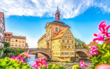 View of the picturesque Altes Rathaus, or Old Town Hall in the Bavarian town of Bamberg in Germany, Europe