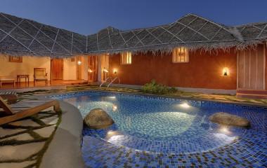 Auu00dfenansicht der Evolve Back Kuruba Safari Lodge in Nagarhole, Su00fcdindien