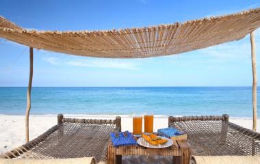 Blick auf den Strand Ras Kutani Hotel in Tansania