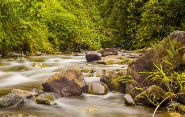 Fast flowing mountain stream near Bajos Del Toro Costa Rica, Central America