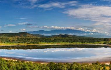 Explosion Craters lakes in Queen Elizabeth National Park, Uganda, Africa