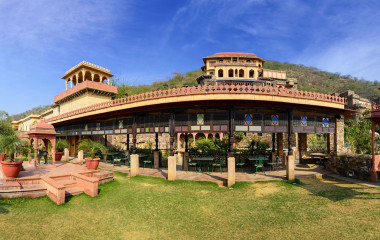 Panorama of Neemrana Fort Palace. The Fort is located at an ancient historical town in Alwar district of Rajasthan, India