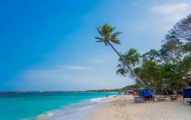 Beautiful Playa Blanca or White Beach on the Caribbean island of Isla Baru, close to Cartagena, Colombia