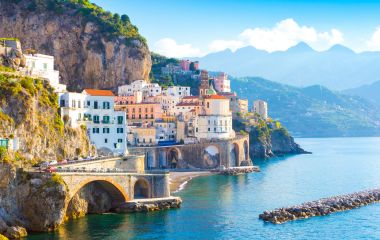 Morning view of Amalfi cityscape on coastline of mediterranean sea, Italy, Europe