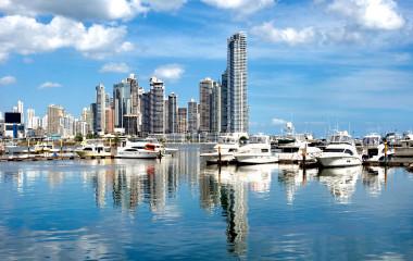 Panama City with luxury boats