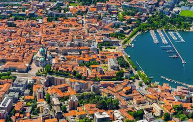 Aerial landscape. Like Como in Italy, Lombardia, from above, Europe