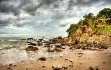 Dramatic storm on the beach of Costa Rica, Manuel Antonio national park