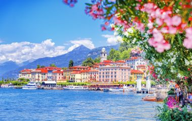 Como lake in Italy, Spectacular view on coastal town, Bellagio, Lombardy