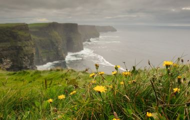 hiking walking trail by sea cliffs and ocean, landscape famous cliffs mohair moher, west of Ireland