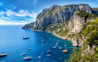 Capri island in a beautiful summer day in Italy, Europe