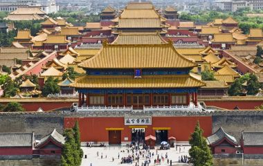 Aerial view of Forbidden City from Jingshan Park in Beijing, China, Asia