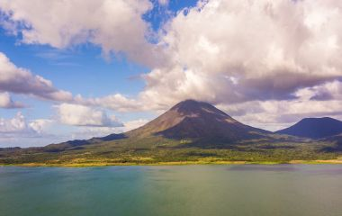 Enchanting Travels Costa Rica Tours Beautiful cinematic aerial view of the Arenal Volcano