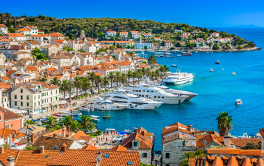 Hvar town in Southern Croatia, famous luxury travel destination in Europe, Mediterranean.