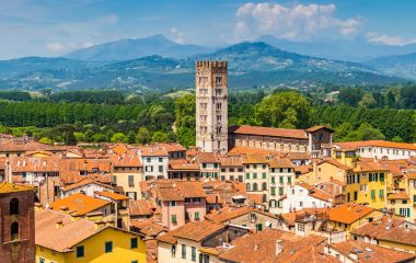 View over Italian town Lucca with typical terracotta roofs, Italy, Europe