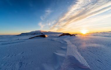 View of Langjokull Glacier at sunset. Iceland.