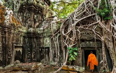 Buddhist monk at Angkor Wat, Ta Prohm temple ruins hidden in jungles, Siem Reap, Cambodia, Asia